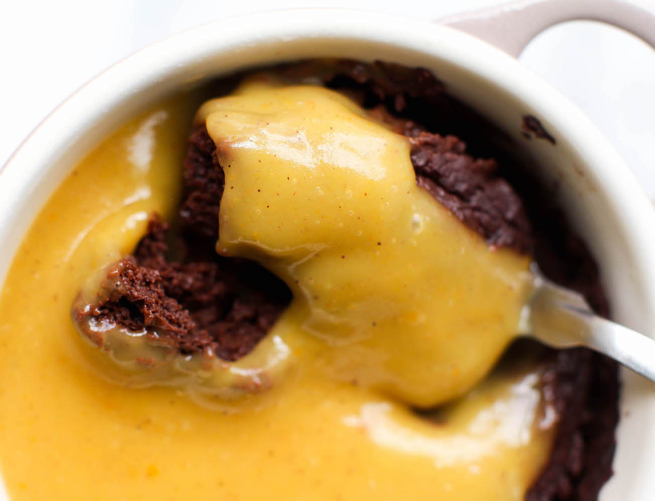 Chocolate Flourless Mug Cake with Pumpkin Spice Custard